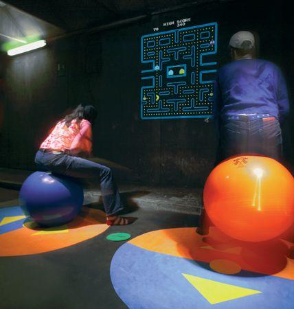 <em>Collabolla</em>, a video game with Spacehopper balls as input devices. Interaction  Design Institute Ivrea, Triennale di Milano, 2004. <em>Designed</em> by Jennifer Bove,  Simone Pia and Nathan Waterhouse. <em>Photo</em> Ivan Gasparini