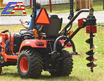 Compact tractor 3 point post hole digger from Land Shark Attachments. Dig up to 12 inch holes with your compact tractor. Free shipping made in USA