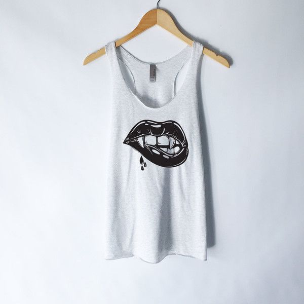 Hot Lips Tank Top Lips Shirt Kiss Shirt Vampire Shirt Valentine's... (21 AUD) ❤ liked on Polyvore featuring tops, silver, tanks, women's clothing, lip print shirt, shirt tops, sexy tops, silver tank and lip top