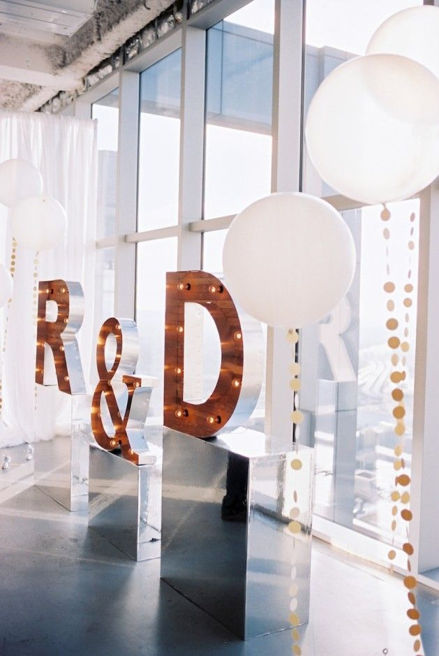 Fun Modern Wedding Inspiration | initial marquee | Desiree Hartsock