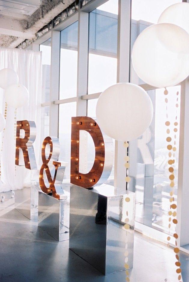 Fun Modern Wedding Inspiration | initial marquee | Desiree Hartsock
