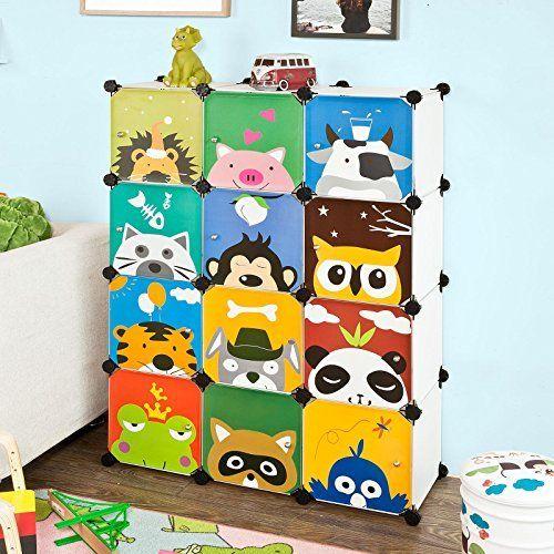 SoBuy® FSS52 DIY 12 cubes, Armoire étagère de rangement modulable plastique, penderie bibliothèque pour enfant, Cadre en métal- imprimé…