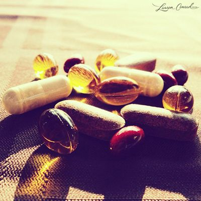 """""""vitamin A (makes your skin look younger and dewier), vitamin B (prevents your skin from becoming too oily), vitamin C (diminishes the appearance of scars), vitamin D (combats dry skin), vitamin E (helps with dry flaky skin) and vitamin K (combats dark under eye circles). It's also good to take a fish oil supplement to give your skin a glow and keep your hair shiny."""""""