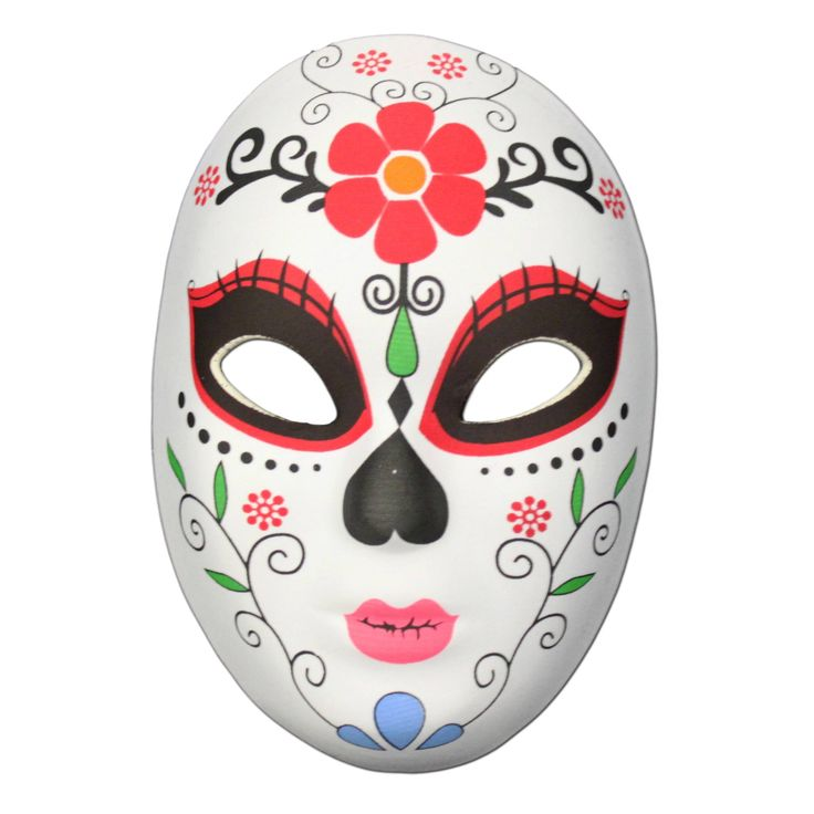 This Day of the Dead masquerade mask with a large flower design on the forehead is the perfect item to complete your festival outfit.  It is a made from a soft rubber half mask shell with a material covering.The Day of the Dead (Dia de Muertos) festival is celebrated throughout Mexico.  It is a multi-day holiday and focuses on gatherings of family and friends to pray for and remember friends and family members who have died, and help support their spiritual journey.