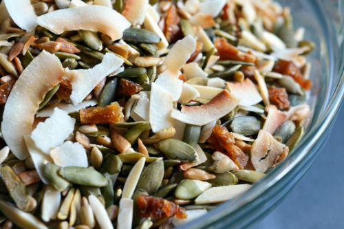 My hubby's Paleo trail mix is like crack.  The two of us constantly make beelines to the pantry to scarf down a handful or three throughout the day when we're home.  It's super duper easy to make if you live near a Trader Joe's, where you can purchase all the ingredients except for the flaked...