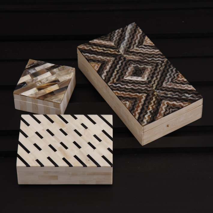 A/3 Bone Art Covered Boxes © Twos Company