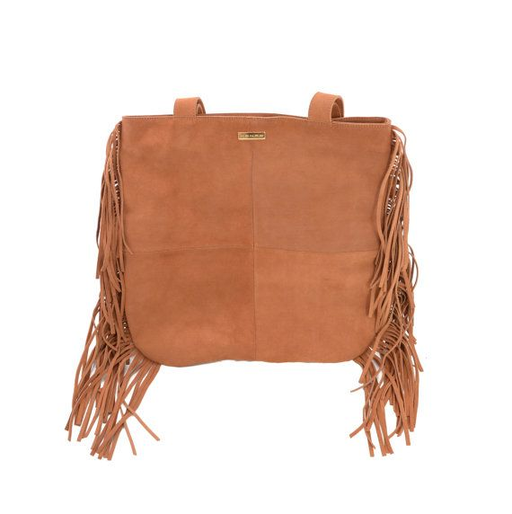 Leather tote, Brown Suede Fringe Tote Bag, Fringe bag, Large fringe bag