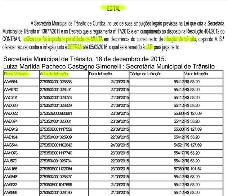 Setran Curitiba abreprazos para defesas erecursos contra multas de trânsito e indicação de real condutor infrator 4.1.16 745-50 +http://brml.co/1Rfsgvl