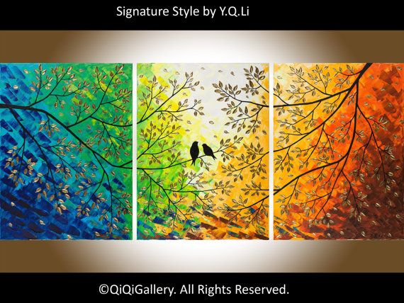 """Original 54"""" Large Abstract Painting Landscape and Scenic Painting Palette Knife Impasto Tree Painting Love Birds Painting """"Twilight"""""""