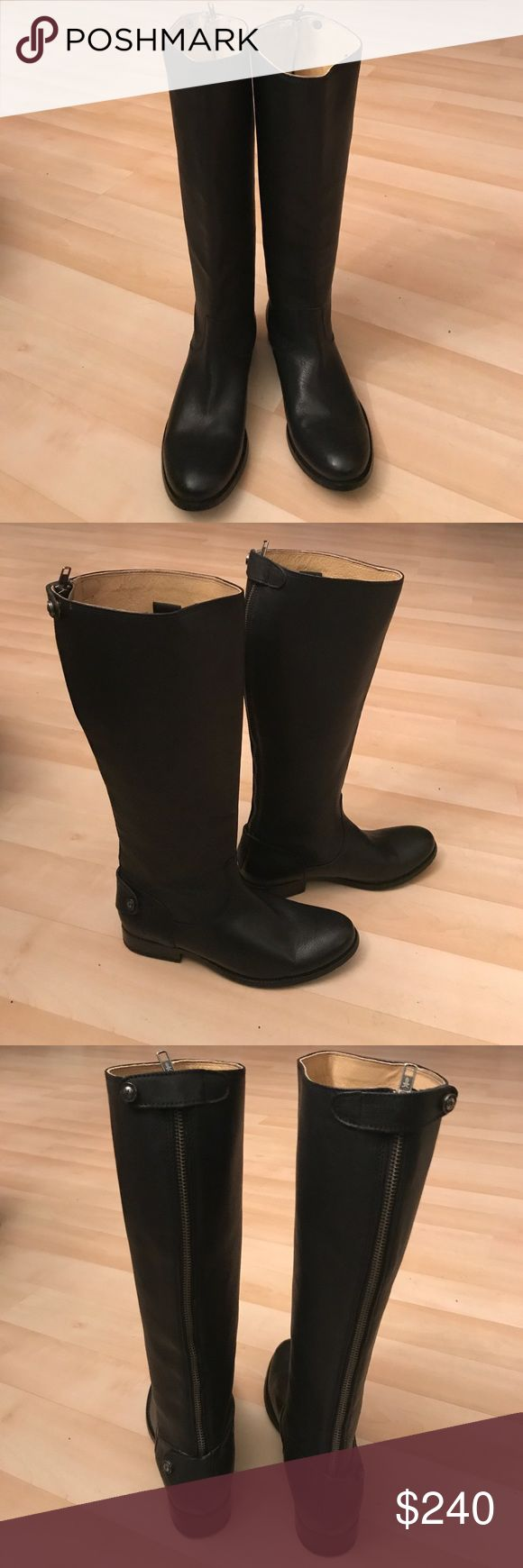 New Frye black pebbled leather riding boots New Frye black pebbled leather riding boots. Size 8,5B. Zipper on back Frye Shoes Heeled Boots