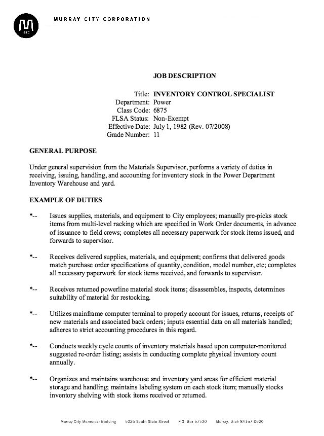 Inventory Specialist Job Description Resume -    resumesdesign - supervisor job description