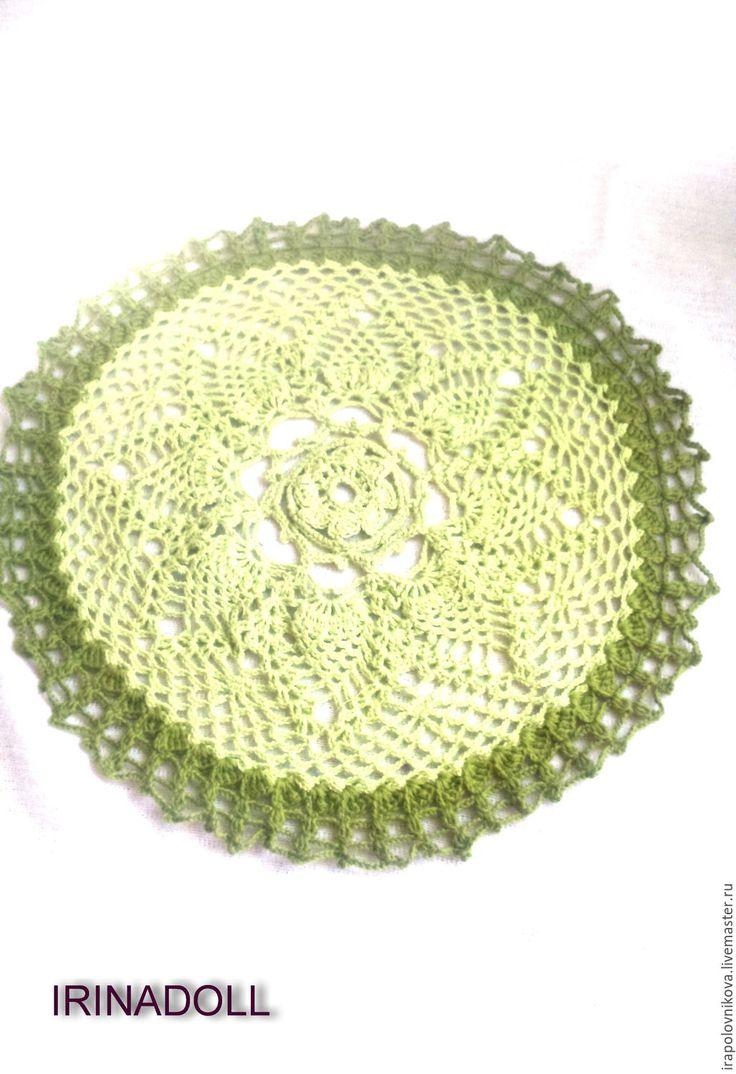 Купить Салфетка ажурная. - оливковый, зеленый, светло-зеленый, тёмно-зелёный, салфетка, Салфетка вязаная