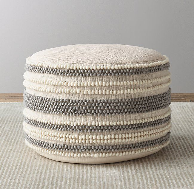 Textured Stripe Woven Pouf Pouf Ottoman Nursery Nursery