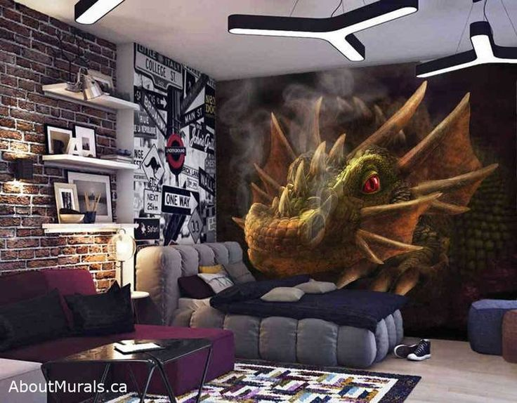 82 best wall murals images on pinterest child room for Dragon mural for wall