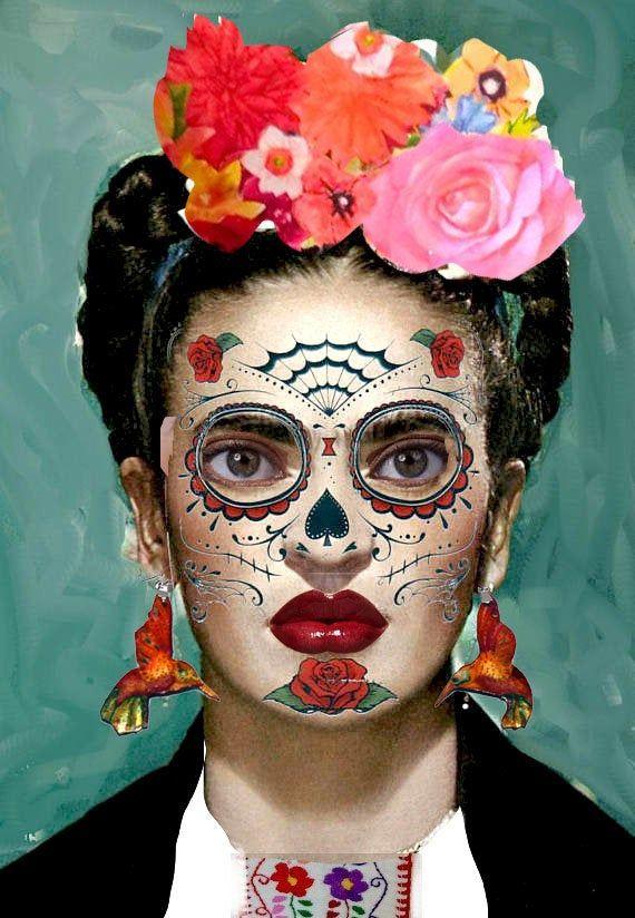 Tag der Toten Sugar Skull Tätowierung, 4 Stile waschbar Tätowierung, Dia de Los Meurtes Halloween-Kostüm