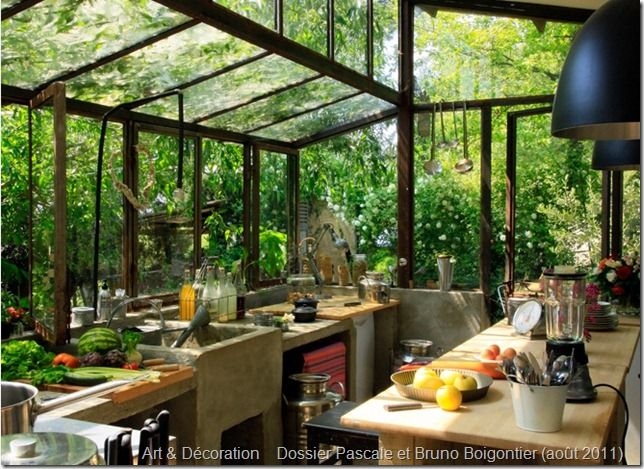 This would be the perfect outdoor completely 'GREEN' kitchen for all to share...in my dream retreat center nestled in the woods