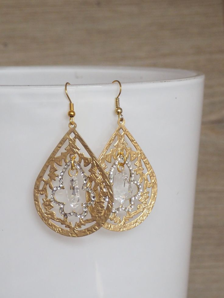 Gold tone big drop earrings with Swarovski crystals / Big teardrop earrings *SALE* by NothingbutChic on Etsy