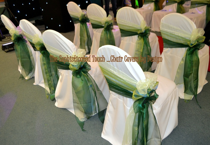 Green Ombre Organza Bows on White Chair Covers The Sophisticated Touch ...Chair Covers by Design