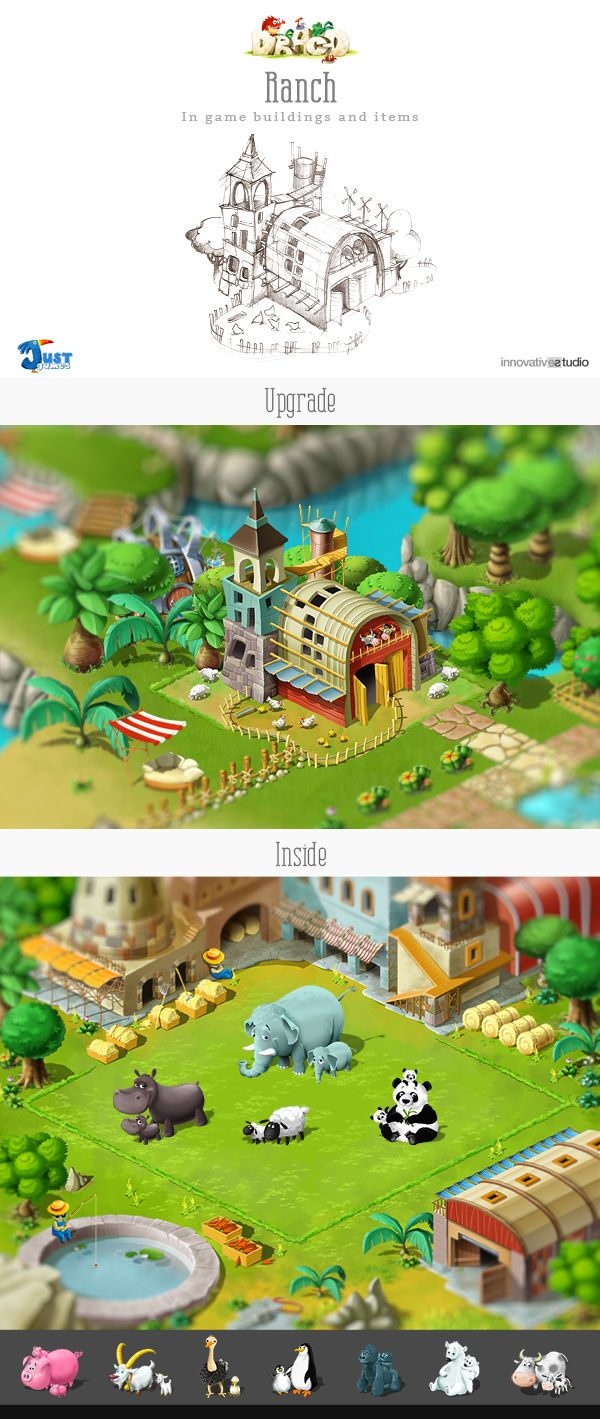 Ranch: In game buildings and items by Just Games, via Behance