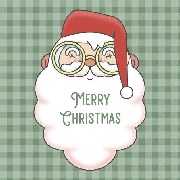 Cute Santa Claus Christmas Card And Checkered Seamless Pattern In 2020 Christmas Cards Cards Santa Claus