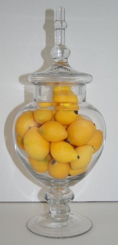Fake Food Baby Lemons In Glass Apothecary Jar 4 Yellow