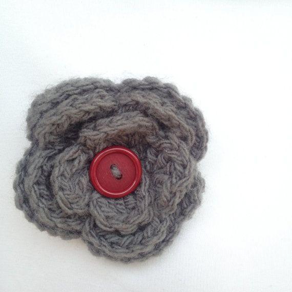 Flower brooch fiber jewellery Crochet flower brooch