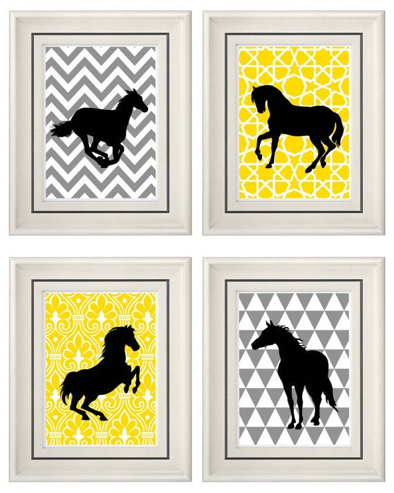 Set of Four Modern Vintage Yellow/Gray Horse Wall Art by catsbeads, $35.00