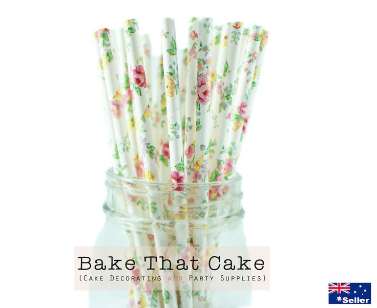 50 x White Floral Flower Pattern Vintage Paper Straws Party Wedding Events.