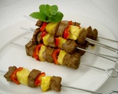 Beef and pineapple kebabs