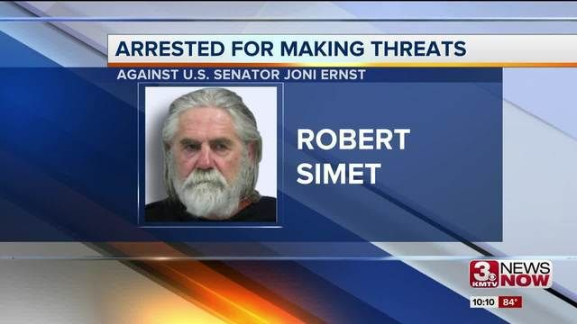 Man accused of threatening Senator Ernst ordered to get mental health evaluation OMAHA, Neb. (KMTV) - A judge Tuesday afternoon ordered the man accused of threatening an Iowa senator to be transferred for psychiatric evaluation. Robert Simet, 64, arrested July 7 in Omaha and charged with threatening U.S. Sen. Joni Ernst, R-Iowa,...and more»