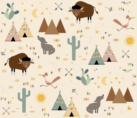 Southwestern babies fabric by heleenvanbuul on Spoonflower - custom fabric