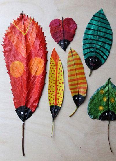 Super cute DIY painted leaf bug activity for kids.
