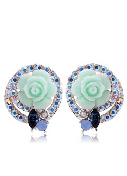 $41.49  Mint Resin Rose Stud Earrings With Rhinestone Ring#errings