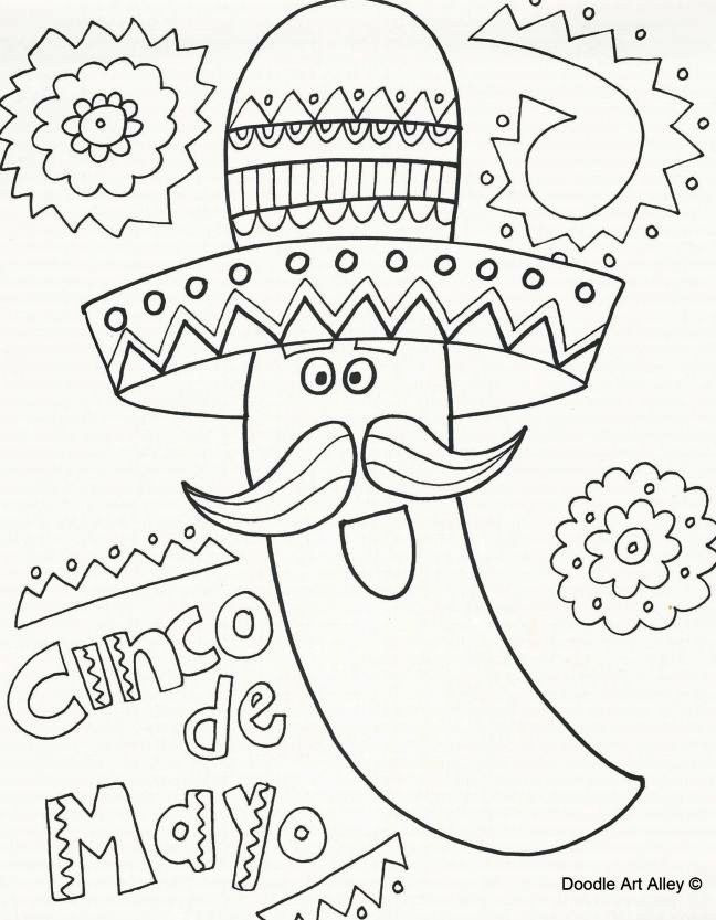 Cinco De Mayo Coloring Pages Coloring Pages In 2020 Cinco De Mayo Colors Coloring Pages Coloring Pages For Kids