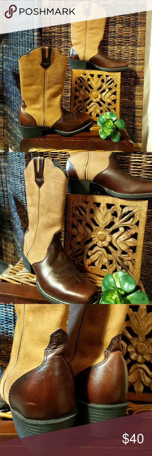 Durango 2-Toned Cowboy Boots Durango 2-Toned Cowboy Boots. Beautiful condition, a few marks. See pictures for better understanding and for heel measurement. Dark brown and tan. Durango Shoes Heeled Boots