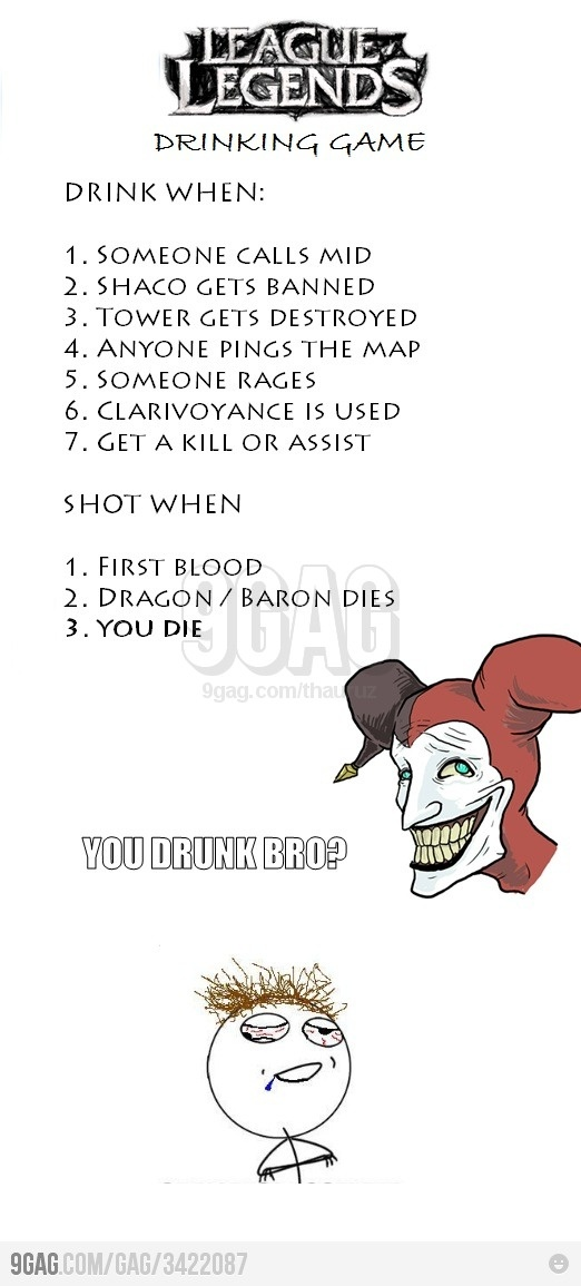 League of Legends drinking game... oh yes. They should also have on there drink when: Malphite gets banned Vanye gets first blood Shen gets banned Ashe misses her arrow etc lol