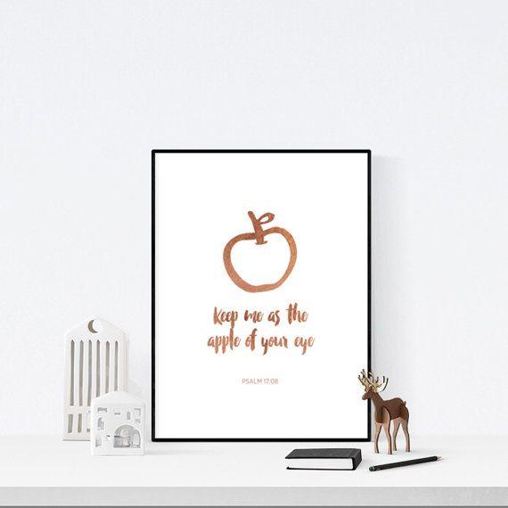 Psalm 17   Apple of Your Eye   Wall Print   Wall Art   Art Print   Christian Print