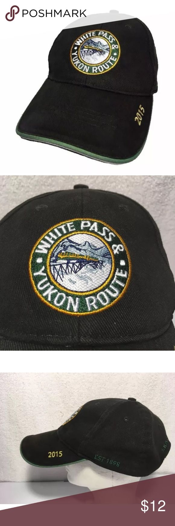 White Pass Yukon Route Skagway Alaska Hat railroad Very good condition pre owned White Pass Yukon Route 2015 in Skagway Alaska. Adjustable, black color, solid back. WP&Y Accessories Hats