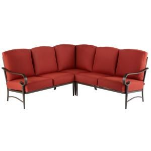 Hampton Bay Riley 3-Piece Metal Outdoor Sectional Set with ... on Riley 3 Piece Sectional Charleston id=61549