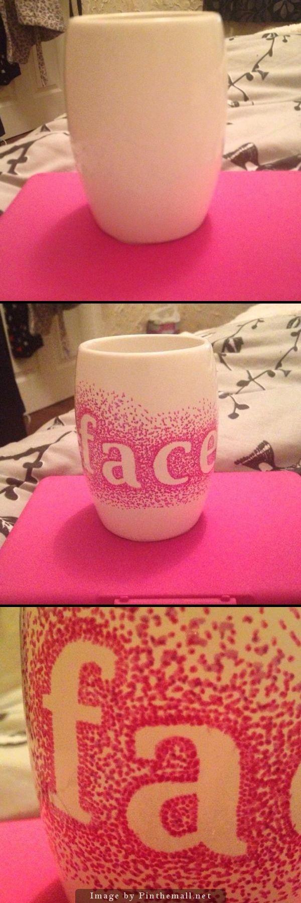 Inspiration taken from customising mugs with sharpies and initials. I thought I'd try this with my make-up brush holder! - created via http://pinthemall.net