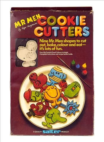 "Salter Mr Men Cookie Cutters, boxed 1980. Pack includes brush, four food colours and nine shapes - Mr Fussy, Mr Uppity, Mr Happy, Mr Muddle, Mr Bump, Mr Greedy, Mr Sneeze, Mr Nosey and Mr Small to enable you to make as many biscuits as you can eat. In excellent condition, implements are in original inner tray housed in excellent, colourful packaging which has tempting photos of the goodies you can create on the front. 13.5cm x 8cm x 2.5cm (5.25"" x 3.25"" x 1"")"