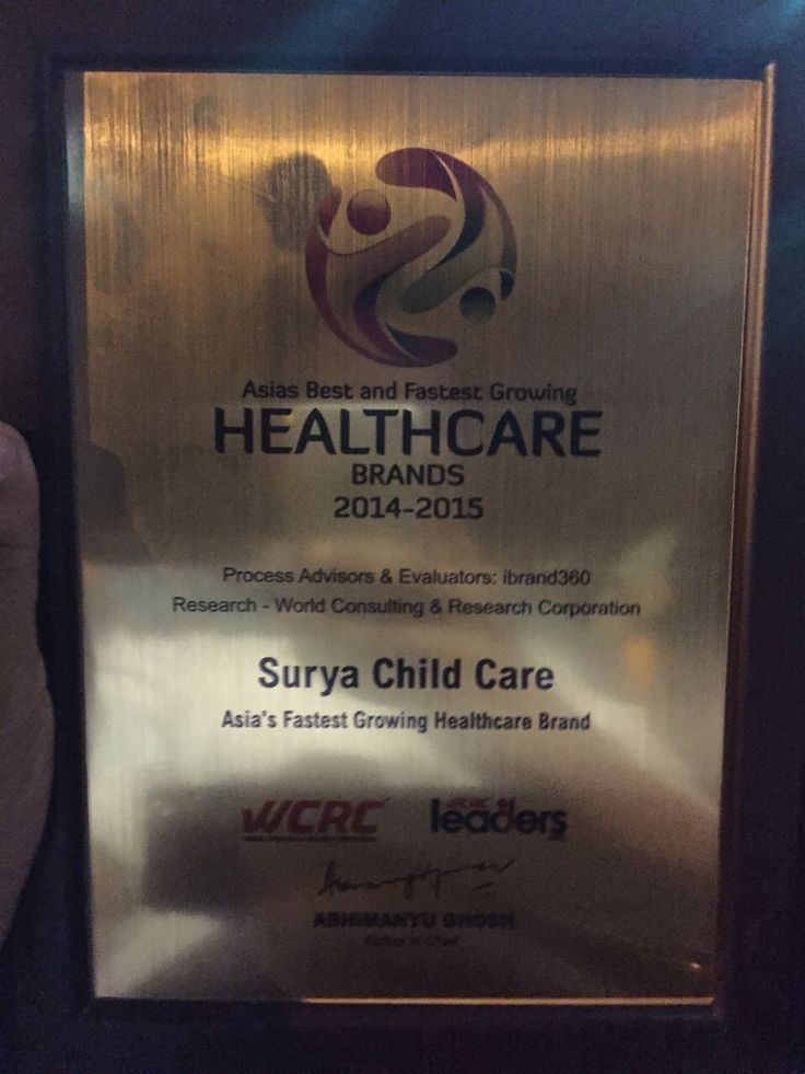 "It is a matter of pride and privilege to share following information with you. Surya Child Care has been awarded with ""Asia's Best and Fastest Growing Health Care Brands 2014-2015"" by WCRC (World Consulting and Research Corporation). Dr B S Avasthi received this award yesterday at Singapore.  We all will like thank you for your kind support and encouragement throughout last 32 years."