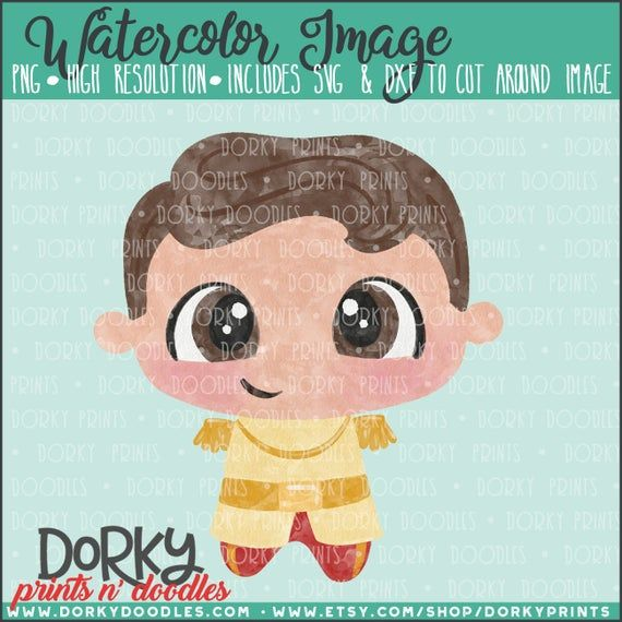 Dashing Prince Watercolor PNG Artwork – Digital File – for heat press, planners, cookies, and crafts