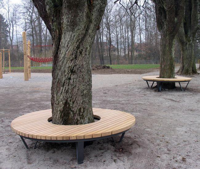 Rundbank Baumbank Schulhaus Holz Gubel 02