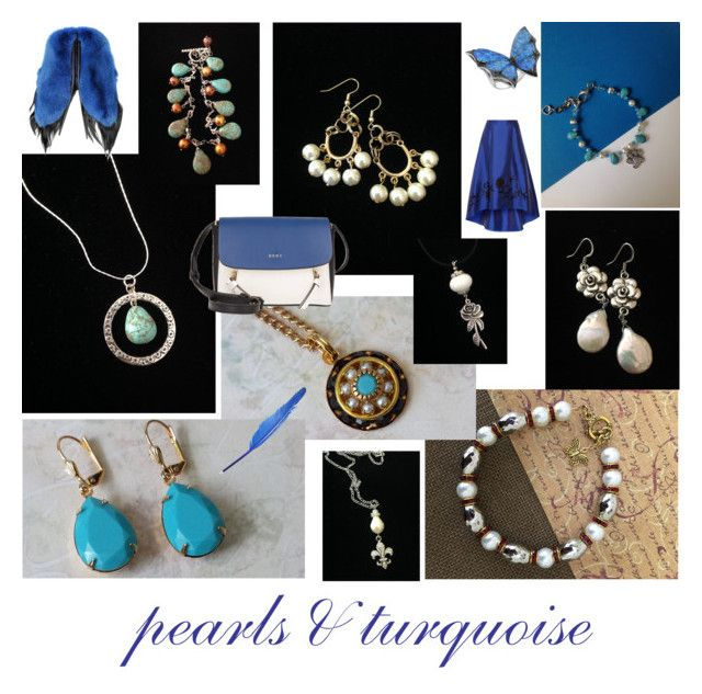 pearls and turquoise by mabellerosedesigns on Polyvore featuring NOIR Sachin + Babi, DKNY, Stephen Webster and Fearfur