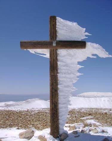 Frozen ice or snow on cross!!!!