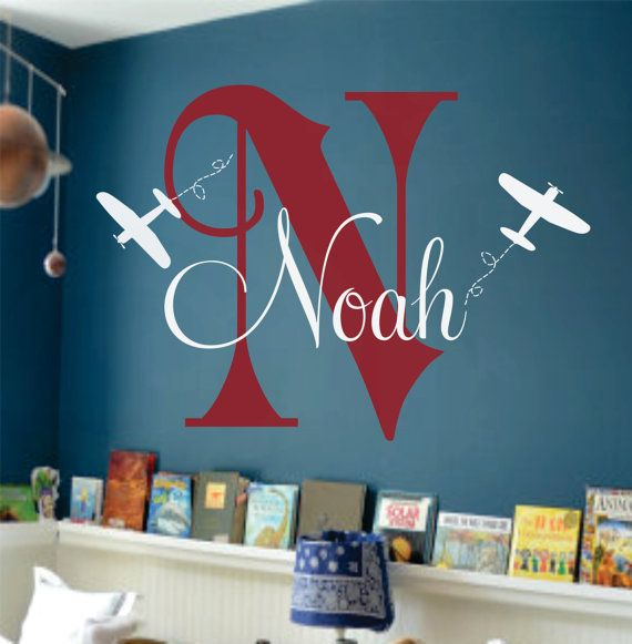 """Airplane Wall Name Decal - Initial and Name Monogram Wall Lettering for Baby Boy Nursery Plane 22""""H x 32""""W. $42.00, via Etsy."""