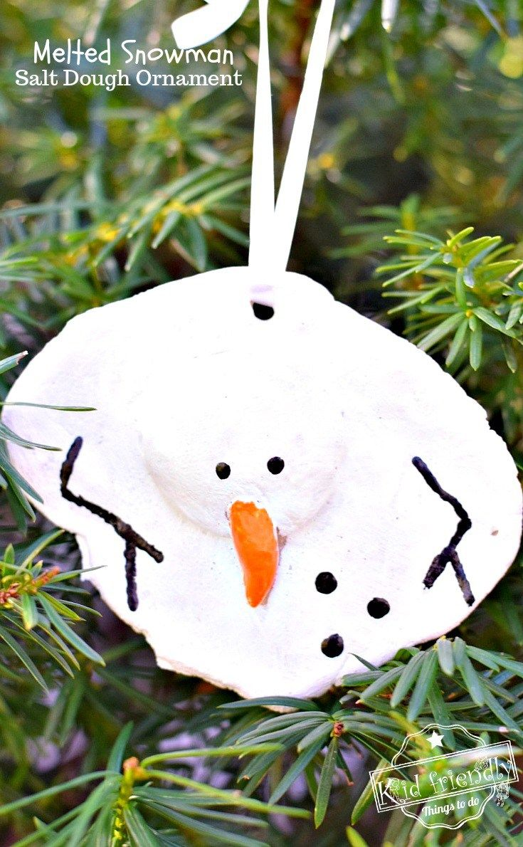 A Diy Melted Snowman And Candy Cane Salt Dough Ornament Idea And Recipe For Christmas With Kids Christmas Ornaments Homemade Melted Snowman Ornament Melted Snowman