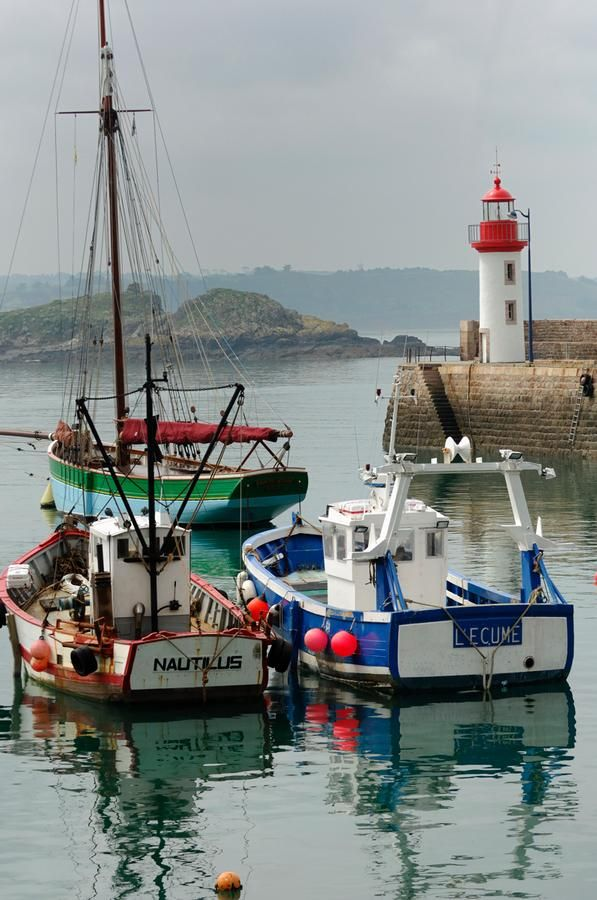 """Erquy is located in a cove of the Penthièvre coast bordered by Erquy's cape on one side and a volcanic rock formation called pointe de la Heussaye on the other. Erquy harbour shelters a flotilla of about 80 trawlers and the town is known as the scallop """"capital"""". The shellfish are collected in the Saint-Brieuc bay.  With its ten fine sand beaches and lovely pink sandstone houses, Erquy is a popular summer tourist destination."""