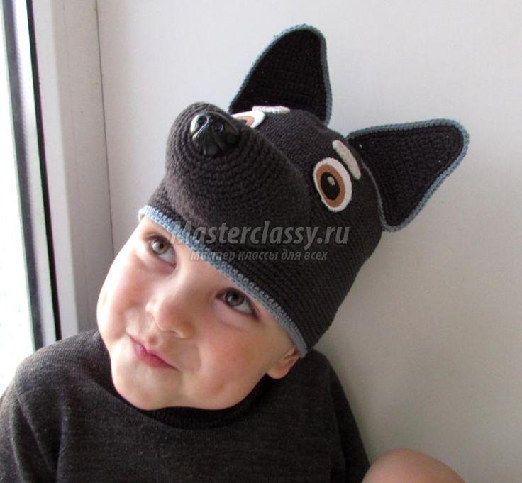 вязаная шапка для детских утренников. Волк